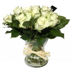 Vase de Rose en blanc - Place O Fleurs