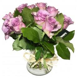 Vase de Rose en parme - Place O Fleurs