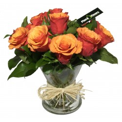 Vase de Rose en orange - Place O Fleurs