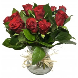 Vase de Rose en rouge - Place O Fleurs