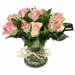Vase de Rose en rose - Place O Fleurs