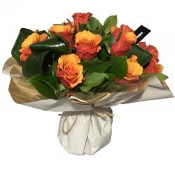 Bouquet Bulle de Roses Orange - Place O Fleurs